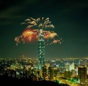 Feu d'artifice au-dessus de Taipei 101